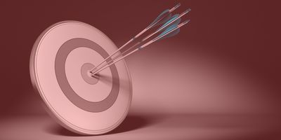 Three arrow hit the center of a grey design target, 3d render with black background and light effect. Concept image suitable for improving performance or achieving results