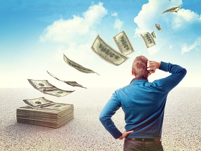 man look his money fly away